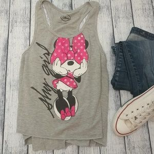 """Disney Minnie Mouse """"Shy Girl"""" pink/gray tank top"""